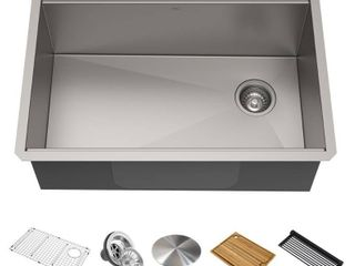 KRAUS Kore Workstation 27 inch Undermount 16 Gauge Single Bowl Stainless Steel Kitchen Sink with Accessories  Pack of 5    Not Inspected