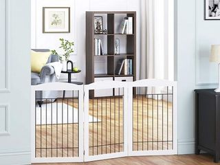 PAWlAND Free Standing Foldable Wire Pet Gate for Dogs  80 inches Extra Wide  30 inches Tall 4 Panels Dog Gate for the Houes  Doorway  Stairs  Pet Puppy Safety Fence Set of Support Feet Included  White