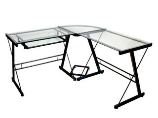 Walker Edison   Modern l Shaped Tempered Glass Computer Desk   Clear Black   Not Inspected