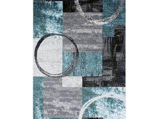 Toscana Abstract Circle Grey Blue Indoor Area Rug 5 3 x7 3