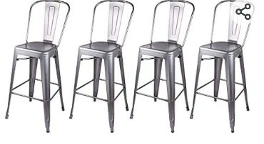 Gia high back armless metal bar chair   Used   not Inspected