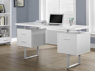 Monarch Specialties White Hollow Core Silver Metal Office Desk  60 Inch   Not Inspected