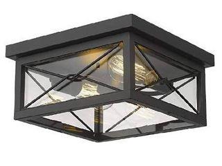 Emliviar 12 Inch Ceiling light Fixture  2 light Flush Mount Ceiling light in Black Finish  0387B Cl BK