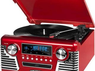 Victrola 50 s Retro Bluetooth Record Player   Multimedia Center with Built in Speakers   3 Speed Turntable  CD Player  AM FM Radio   Vinyl to MP3 Recording   Wireless Music Streaming   Red   Not Inspected