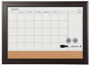 Quartet Combination Magnetic Whiteboard Calendar   Corkboard  17  x 23  Combo Dry Erase White Board   Cork Bulletin Board  Perfect for Office  Home School Message Board  Black Frame  79275