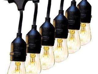 2 Pack 48 FT Outdoor String lights Commercial Grade Weatherproof Strand 16 Edison Vintage Bulbs 15 Hanging Sockets  Ul listed Heavy Duty Decorative CafAc Patio lights for Bistro Garden