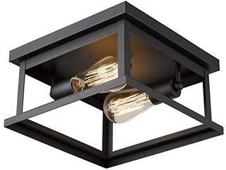 Emliviar Flush Mount light Fixture  2 light 11 inch Ceiling light in Black Finish  1803EW1 F1 BK