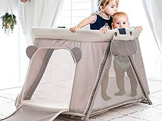 FUNNY SUPPlY 3 1 Pack n Play with Mattress and Sheet  Portable  lightweight Sturdy Travel Cot  Baby Travel Crib  Push Button Compact Fold  Easy to Pack Yard