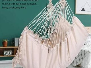 Y  STOP Hammock Chair Hanging Rope Swing Max 330 lbs  Macrame Hanging Chair  Quality Cotton Weave for Superior Comfort Durability  Beige