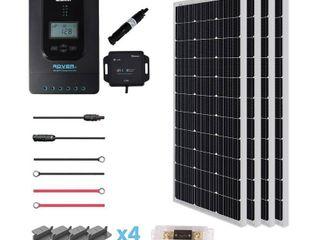 Renogy 400 Watt 12 Volt Off Grid Solar Premium Kit with Monocrystalline Solar Panel and 40A MPPT Rover Controller Mounting Z Brackets MC4 Adaptor Kit Tray Cables Fuse set  MC4 fuse