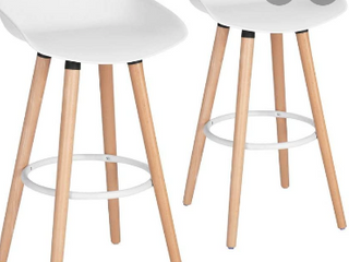 Morden White PP Plastic Bar Stool Height Barstools Dining Kitchen Bar Stools Chairs with Wooden legs Set of 2 for Coffee Shop  Home Bar  Club  Pub  Home Balcony   Not Inspected
