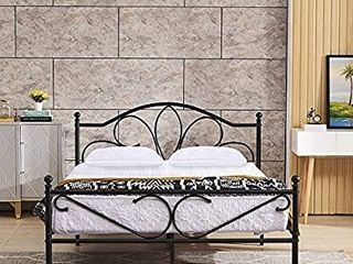 GreenForest Full Bed Frame with Headboard Metal Platform Bed No Box Spring Needed Easy to Install Black