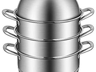 VIVOHOME 3 Tier 8 5Qt 304 Stainless Steel Steamer Pot Steaming Cookware Saucepot with Tempered Glass lid  Work with Gas  Electric  Induction Oven  Grill Stove Top  Dishwasher Safe USED