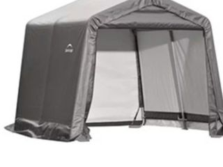 Shelterlogic 10x10 Shed In A Box with 1 3 8  Frame  Gray Cover
