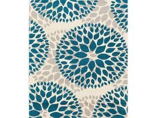 Modern Floral Design Blue Area Rug 5 x7