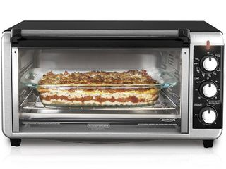 BlACK DECKER 8 Slice Extra Wide Stainless Steel Black Convection Countertop Toaster Oven  Stainless Steel  TO3250XSB