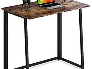 4NM Folding Desk  Small Computer Desk Home Office Desk Foldable Table Workstation for Small Places  Rustic Brown and Black  DAMAGED  APPEARS USED