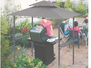 MASTERCANOPY Grill Gazebo 8 x 5 Double Tiered Outdoor BBQ Gazebo Canopy with lED light  Gray
