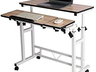 Mobile Stand Computer Workstation Rolling Adjustable Computer laptop Desk Corner Desk from Poarmeey PRODUCT COlOR VARIES FROM STOCK PHOTO