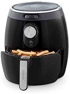 DASH DMAF355GBBK02 Deluxe Electric Air Fryer   Oven Cooker with Temperature Control  Non Stick Fry Basket  Recipe Guide   Auto Shut off Feature  3qt  Black