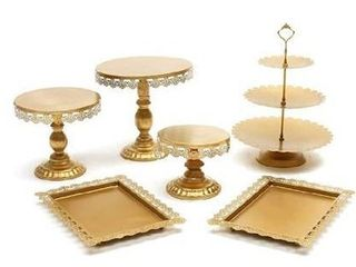 Agyvvt Set of 6 Pieces with extra items Cake Stands Iron Gold Cupcake Holder Fruits Dessert Display Plate Serving Tray for Baby Shower Wedding Birthday Party Celebration Home Decor