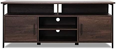 Sekey Home 58  Entertainment Center Wood Media TV Stand   Storage Console  Smoky Oak