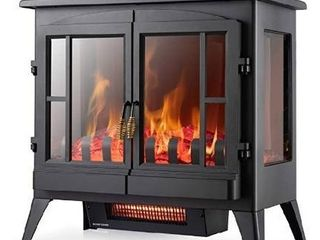 Xbeauty Electric Fireplace Stove  Freestanding Fireplace Heater with Realistic Flame  Indoor Electric Stove Heater  Portable  Infrared  Thermostat  Overheating Safety System  1000W 1500W 23 Inch