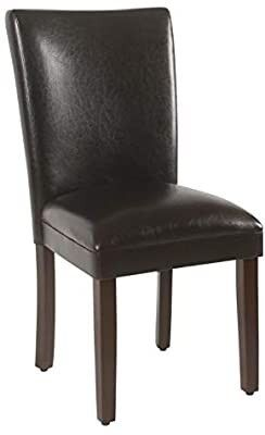 HomePop Parsons Upholstered Accent Dining Chair  Set of 2  Dark Brown Faux leather