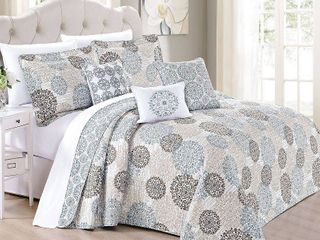 Serenta Marina Medallion 6 Piece Quilted Microfiber Coverlet Bed Spread Set