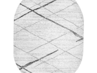 Thigpen Contemporary Stripes Gray 8 ft  x 10 ft  Oval Rug