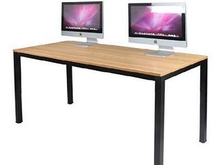 DlandHome 63 inches X large Computer Desk  Composite Wood Board  Decent and Steady Home Office Desk Workstation Table  BS1 160TB Teak and Black legs