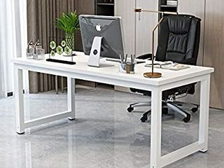 White Computer Desk for Home Office laptop iPad TV Notebook PC 47  Study Writing Table Modern Simple Office Workstations White Metal Frame