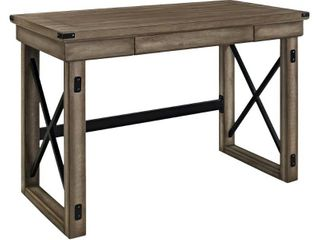 Hathaway Wood Writing Desk with Drawers Rustic Gray   Room   Joy small amount of damage on corner