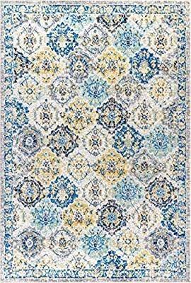 JONATHAN Y Modern Persian Boho Vintage Trellis Blue Multi 3 ft  x 5 ft  Area Rug  Bohemian  Easy Cleaning  For Bedroom  Kitchen  living Room  Non Shedding