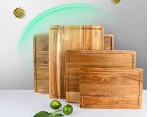 SKY lIGHT Cutting Board  Wood Chopping Boards for Kitchen with Deep Juice Groove  Organic Acacia Butcher Block for Meat and Vegetable  Wooden Carving Board