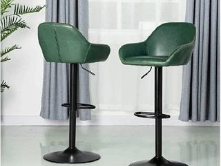 Glitzhome Adjustable Swivel Bar Stools Set of 2 with Back Support leather Seat Mid Century leatherette Dining Chairs Hunter Green