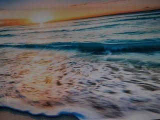 Ocean Print Canvas Art  Frame Damaged