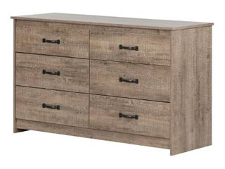 South Shore Tassio 6 Drawer Double Dresser Weathered Oak