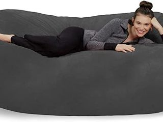 Sofa Sack   Plush Bean Bag Sofas with Super Soft Microsuede Cover   Xl Memory Foam Stuffed lounger Chairs for Kids  Adults  Couples   Jumbo Bean Bag Chair Furniture   Charcoal 7 5