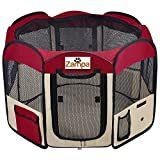 Zampa Portable Foldable Pet playpen Exercise Pen Kennel   Carrying Case For larges Dogs Small Puppies  Cats   Indoor   Outdoor Use   Water resistant
