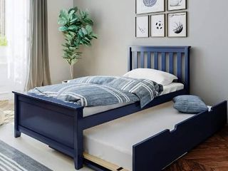 Max   lily 186210 131 Solid Wood Twin size Trundle Bed  Blue