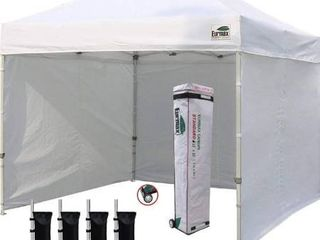 Eurmax 10 x10  Ez Pop up Canopy Tent with 4 Removable Side Walls and Roller Bag  Bonus 4 SandBags  White