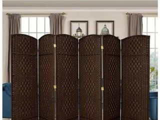 6Ft Woven Room Divider Double Hinged 6 Panel Screen  Folding Privacy Screen