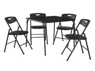 5 Piece Folding Table and Chair Set   Black   Cosco