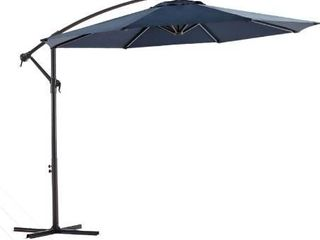 Wikiwiki Offset Umbrella 10ft Cantilever Patio Umbrella Hanging Market Umbrella Outdoor Umbrellas with Crank   Cross Base Navy Blu