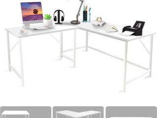 Bizzoelife l shaped Corner Computer Desk   59 59  White large Reversible Table for Space Saving  Three Use Mode Adjustable Desks  Wood   Metal Student Tables Writing Workstation for Home Office Gaming