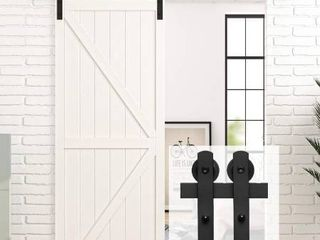 Homlux 5ft Heavy Duty Sturdy Sliding Barn Door Hardware Kit  Single Door Smoothly and Quietly  Easy to Install and Reusable   Fit 1 3 8 1 3 4  Thickness   30  Wide Door Panel  Black I Shape Hanger
