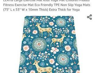 lERYG large Exercise Mat Kids Yoga Mat Children Pilates Fitness Exercise Mat Eco Friendly TPE Non Slip Yoga Mats  75  l x 53  W x 10mm Thick  Extra Thick for Yoga