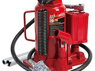 BIG RED TA92006 Torin Pneumatic Air Hydraulic Bottle Jack with Manual Hand Pump  20 Ton  40 000 lb  Capacity  Red