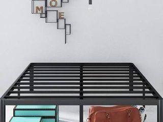 Zinus Van 16 Inch Metal Platform Bed Frame With Steel Slat Support   Mattress